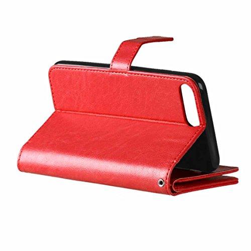 JIALUN-Telefon Fall Für IPhone 7 Plus, mit doppeltem Kartensteckplatz, magnetischer Schnalle Praktisches, flaches, offenes Telefongehäuse ( Color : Brown , Size : IPhone 7 Plus ) Red