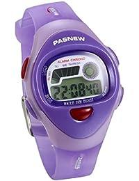 JewelryWe Relojes para Niños Niñas Reloj Deportivo Digital Para Aire Libre Reloj Infantil De Colores Correa de Silicona Suave Color Violeta para el Verano