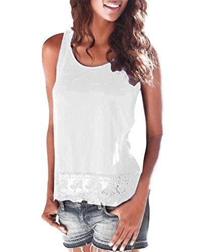 StyleDome Damen-Top mit Häkelspitze, Rundhals, sexy, lässig, Shirt, Sommer, Urlaub, Party Weiß
