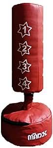 MADX Sac de frappe sur pied pour enfants (gants inclus), rouge