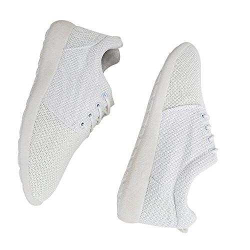 Damen Sportschuhe | Neon Laufschuhe | Runners Sneakers | Fitness Schnürer | Prints Blumen | Übergrößen Weiss Total