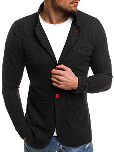 ozonee Uomo Giacca sportiva SPORTIVO Giacca da uomo giacca slim fit blazer giacca vestito vestito LAVORO MANTELLA CORTA MECH/ 2043 NERO_ozonee -mech / 2043