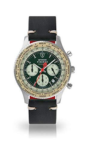 DETOMASO Firenze Montre pour Hommes Chronographe Chronographe analogique Quartz Vert foncé Bracelet en Cuir Vintage Cadran Vert DT1069-B-789