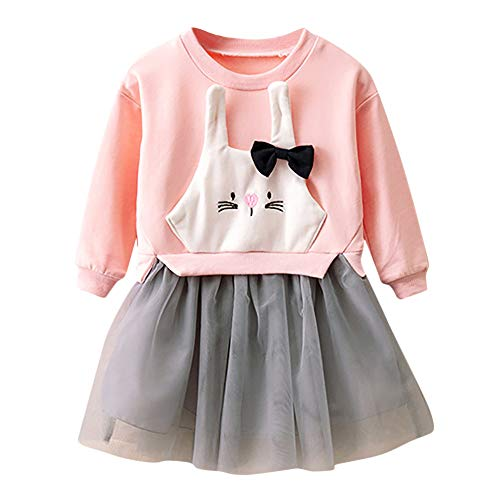 c8e7f4155ea5 Kobay Baby Girls Dress Outfits Kids Baby Girl Cartoon Bunny Princess  Patchwork Sweatshirt Girls Gown Tulle