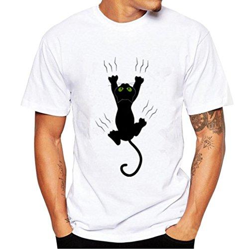 049cc725c1f japanese anime streetwear tees. AIMEE7 Hommes Impression Chat Noir de  Dessin animé T-Shirts Chemise à Manches Courtes T