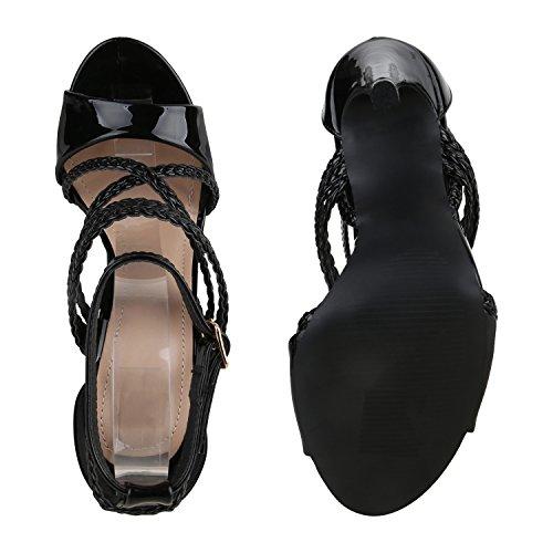Damen Sandaletten | Plateau Sandaletten Strass | Stiletto Cut-Outs Schuhe | Party High Heels Metallic Lack | Partyschuhe Veloursleder-Optik Schwarz Schwarz Lack