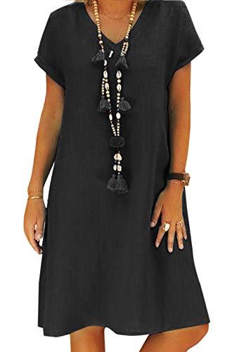 Yidarton Robe Été Femme de Plage Rétro Robes Col V Lin Robes au Genou Manches Courte Unie Casual Tuniques Ample sans Accessoires(Noir,2XL)