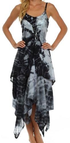 Korsett Bodice Taschentuch Hem Kleid - Schwarz/Weiß - One Size Plus ()