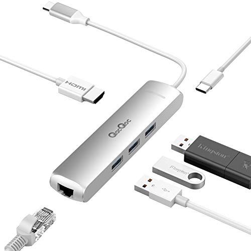 QacQoc 6 in 1 HUB USB C, Macbook hub type c con 1 porta USB C (di ricarica), 1 porta HDMI 4K(30Hz), 1 porta RJ45, 3 porte USB 3.0, Adattatore usb in Alluminio per Macbook/pro 2015/2016 (Argento)