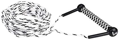 MESLE Wasserski & Wakeboard Leine Combo, schwimmfähig, Eva Soft Griff, Länge 23 m, schwimmend, Zug-Seil Wassersport Schleppleine, schwarz-weiß