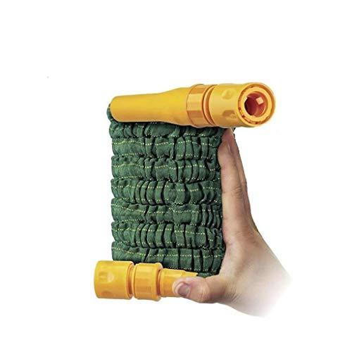 Erweiterbarer Taschen-Gartenschlauch, 15 Meter, rostfrei, flexibel, stabil, einfach zu tragen, leichter Schlauch, Innenschlauch mit Dura-Rib, inklusive Spritzpistole, Bonus-Döse enthalten,grün -