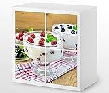 Set Möbelaufkleber für Ikea Kallax 4 Fächer/Schubladen Joghurt Obst Beeren Kat4 Himbeere Milch Aufkleber Möbelfolie sticker (Ohne Möbel) Folie 25H530