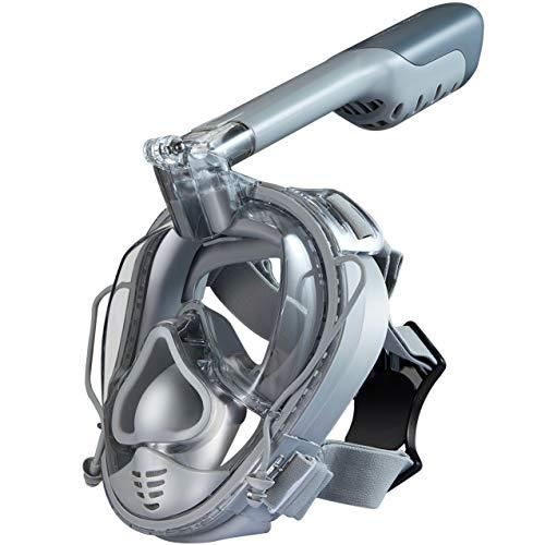 Khroom CO2 sichere Schnorchelmaske mit Druckausgleich - das Original aus YouTube - Vollmaske mit Action Kamera-Halterung (z.B. Go Pro) | 180° Sicht | Universalgröße (Matt Grau)