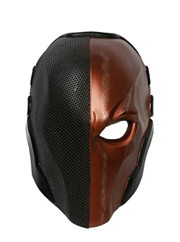 Cosplay Kostüm Deathstroke - Xcoser Halloween Helm Spiel Arkham Cosplay Kostüm Harz Maske für Herren Kleidung Merchandise Zubehör (Black Orange)