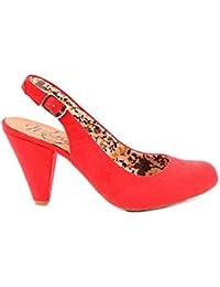 Zapato Slingback Antelina Rojo Tacón: 7, 5 Cm