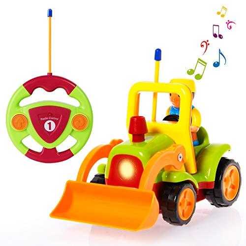 SGILE Ferngesteuertes Auto Kinder,Ferngesteuerter Traktor Spielzeug,Licht- und Soundfunktion ,Cartoon Wagen für Kinder Kindergeschenk Grün