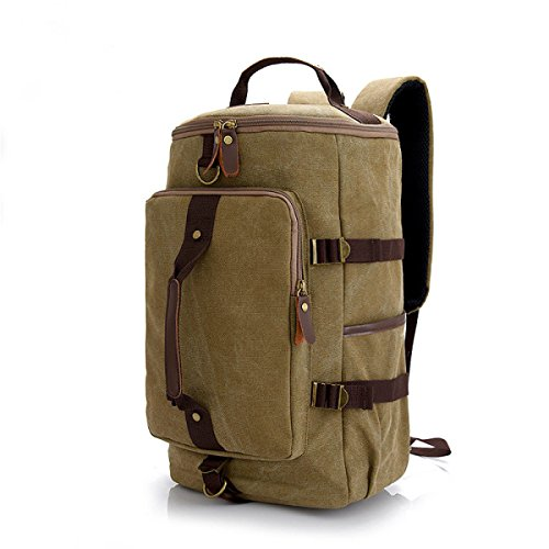 BULAGE Taschen Lässig Schultern Mode Studenten Schultaschen Natur Reisen Leinwand Männer Rucksäcke Persönlichkeit Einfach Computer,Khaki-OneSize (Jugend Leinwand Khaki)