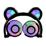 Auriculares Glowing Bear Ear Earphones Led Ear Headphone Cat Headphone Flashing Glowing Headset Auriculares para Juegos para Adultos Y Niños Negro