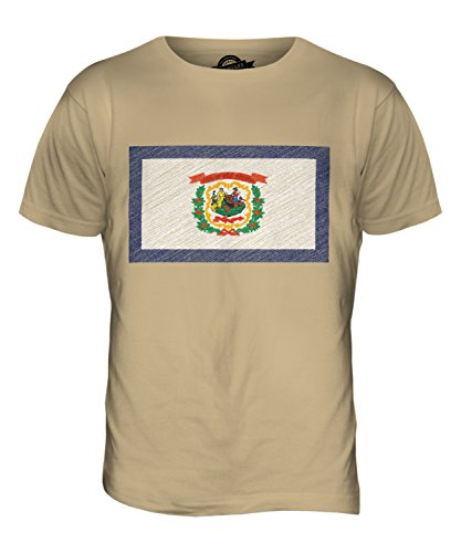 CandyMix Bundesstaat West Virginia Kritzelte Flagge Herren T Shirt Sand