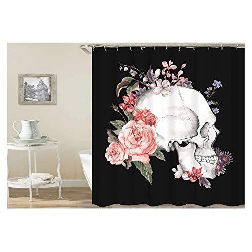 Adisaer Crâne Latéral 180X180 Latéral De Fleur Multicolore Noir Rideau en Douche De Tissu Imperméable avec Crochets Blancs