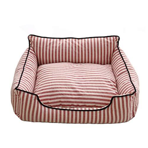 Pet nest dog bed small medium pet bed katze bett rot gestreifte baumwolle und leinen vier seasons universal abnehmbar und waschbar (größe : L) -