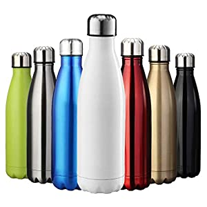 ZUSERIS Thermobecher Doppelwandige Trinkflasche Edelstahl Sportflasche Wasserflasche Camping Reisebecher Thermosflasche Haelt Getraenke 12 Stunden Kalt & 24 Heiß BPA Frei - (Weiß, 350ml-12oz)