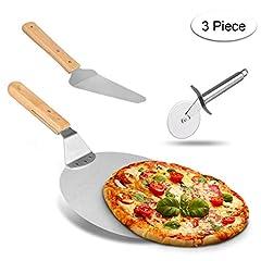 Idea Regalo - Weeygo - Pala di trasferimento in Acciaio Inox con Manico in Legno, per cuocere Pizza e Torte su Forno e Grill, 3 Pezzi, Colore: Argento