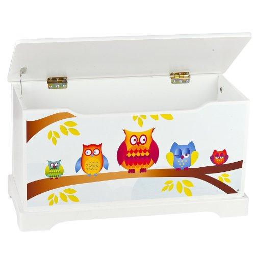 Caja de madera -búhos, banco con almacenamiento para juguetes y accesorios