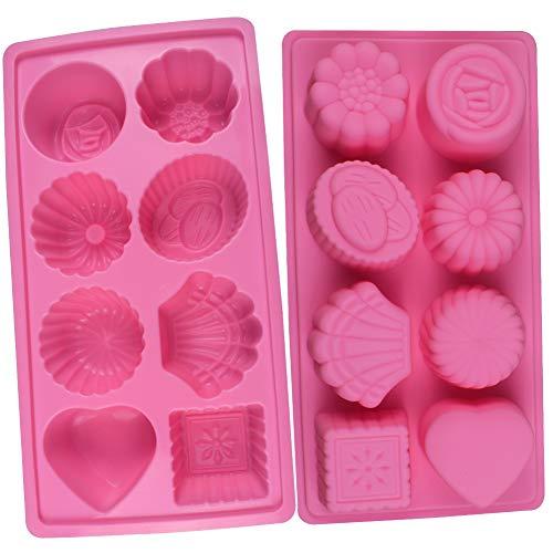 BESYZY 8 Hohlräume Silikonform Handgemachte Seifenformen Silikon Seifenform für Seife DIY Formen für Backen Kuchenform Kuchen Schokolade Ice Cube Tablett 2 Stück Rosa (Kuchen Schokolade)