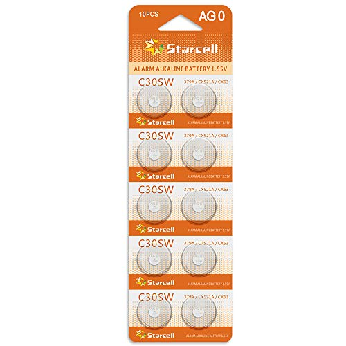 Act alkaline button cell batteries AG0 / LR63 / LR521 / 379 / Set of 10