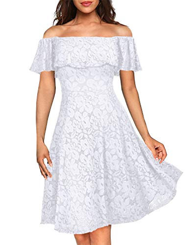 Kidsform Damen Schulterfreies Kleid Elegant Abendkleid Vintage Spitzenkleid Cocktail Party Brautkleider für Hochzeit Ballkleid Weiß L - Weiße Hochzeit Ballkleid