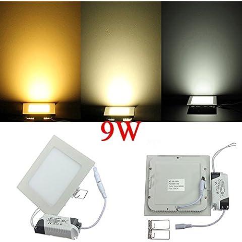 Panel de luz AC 85-265V Square 9W ultrafino de techo ahorro de energía LED.