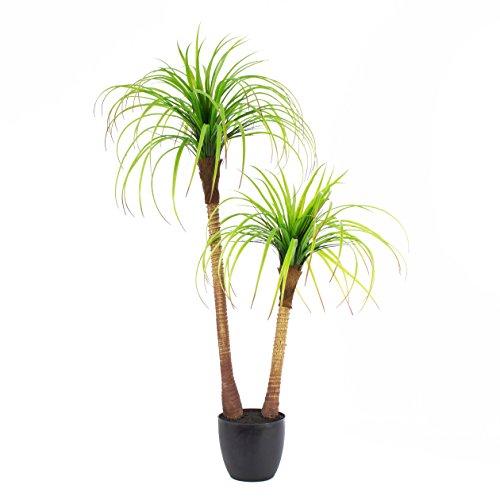artplants – Künstliche Yucca Palme mit 2 Stämmen, im Dekotopf, 120 cm – Deko Yucca Pflanze/Unechter Palmlilien Baum