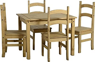 Mercers Furniture Corona Budget Dining Table and 4 Chairs, Wood, Antique Pine