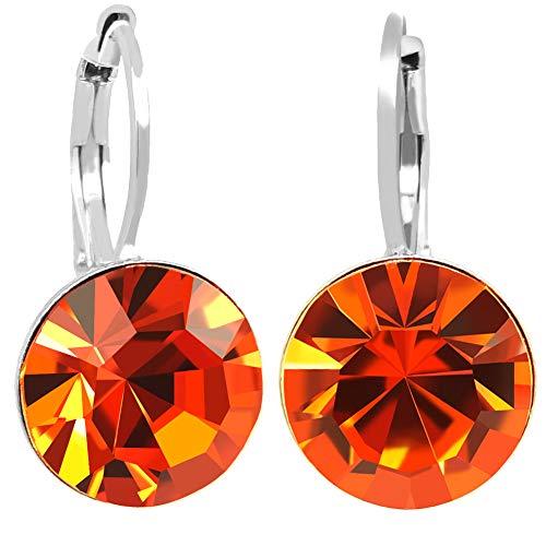 Ohrringe mit Kristallen von Swarovski® Silber Orange Damen NOBEL SCHMUCK