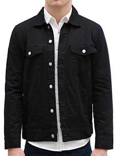 Allegra K Herren Klapp Brusttaschen Einreiher Jeansjacken Hemd Regular Fit Schwarz L (EU 54)
