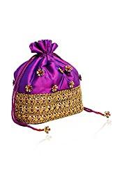 Sparkle Street Fashion HandCrafted Purple and Gold Bags