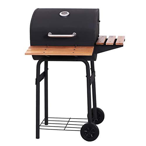 Outsunny Barbacoa de Carbón Vegetal Portátil Parilla de Carbón con Ruedas Parilla Barril Carro de BBQ 72.5x61x102cm
