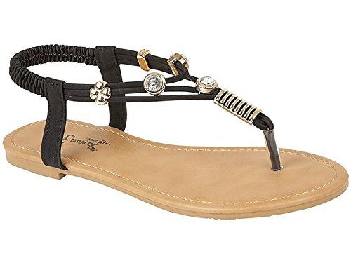 Damen Zehentreter, Leder Look Fashion, flach Zehensteg Flip Flop Sommer Sandale Schuhe, Größe 3–8 (UK), Schwarz - schwarz - Größe: 42 (Lässig-flip-flop)