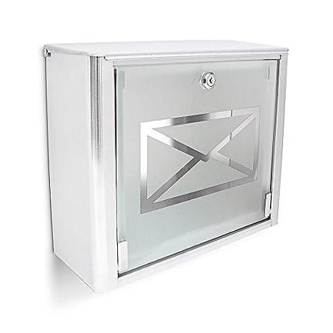 Relaxdays Boîte aux lettres murale en Inox avec porte en verre opal motif enveloppe 35,5 x 14 x 30,5 cm, métal gris argenté