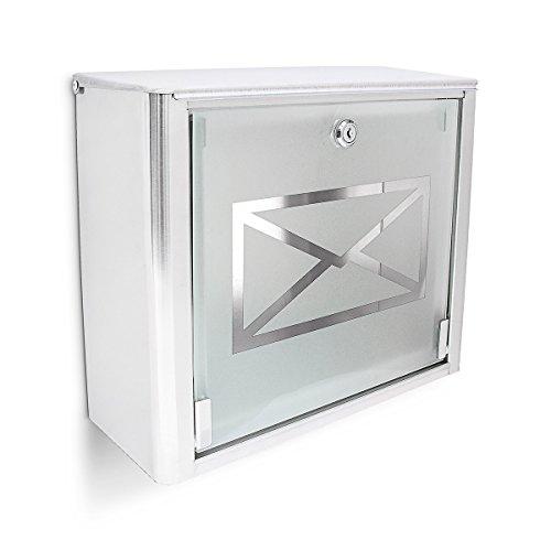 Relaxdays Briefkasten mit Motiv-Glastür, Postkasten Edelstahl, abschließbar, HBT: ca. 30,5 x 35,5 x 14 cm, silber / grau