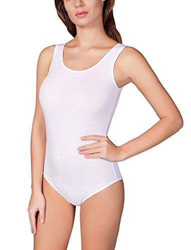Günstige Damen Bodies (VEDATS Damen Body Träger Top Unterhemd Achselhemd Bodysuit Schwarz Weiß Hautfarben S M L XL (XL,)