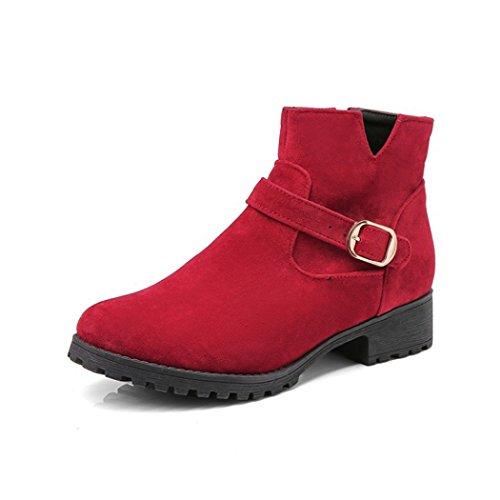 ZQ@X In autunno e in inverno, testa tonda con grassetto, con elegante fibbia lato studenti, bare stivali Donna stivali Red