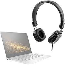DURAGADGET Auriculares de diadema negros para Portátil MSI GE63 Raider RGB / HP Spectre x360 15-bl100na , 15-bl101na / Lenovo ThinkPad X1 Yoga (3rd gen) con mando de volumen y doble cable para audio y micrófono. Plegables