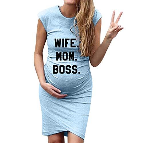 Lonshell Schwangerschafts Kleid mit Kurzarm Freizeit Nachtkleid Lustig Baby Drucken Umstandskleid Sommer Mutterschaft Mode Umstandsmode Shirtkleid Mini Sommerkleid