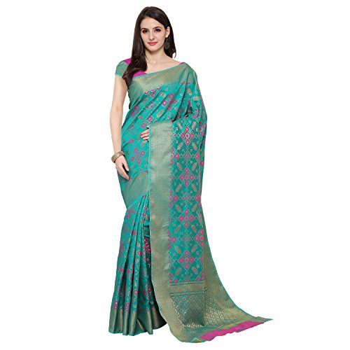 Traditional Ethnic Self Design Poly Cotton Banarasi Sarees With Unstitched Blouse, Light...