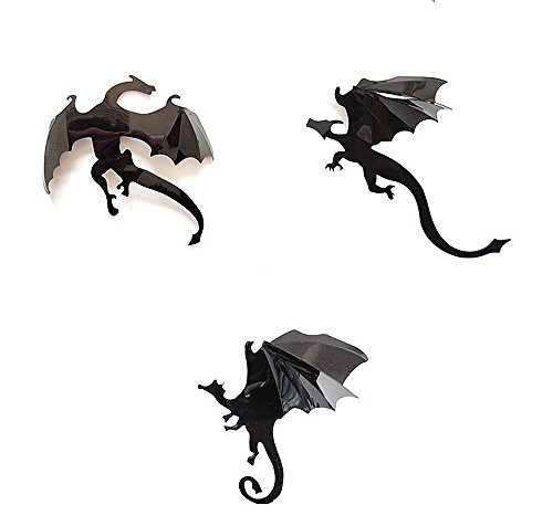 (ZahuihuiM Wohnaccessoires & Dekoration 7Pcs / Lot Halloween Gothic Wallpaper Aufkleber Spiel Power Limited 3D Dragon Printed Dekoration für DIY Party Shop House Room Decor (Freie Größe, Schwarz))