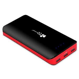 Powerbank EC Technology 22400 mAh Externer Akku mit 3 USB Auto IC (5.5A) Ausgangen hohe Kapazitat Dual Eingang Port (4A) Tragbar Power Bank für iPhone iPad Samsung und andere Smartphones Schwarz/Rot