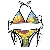 Gxdchfj Women's Glasses Sunglasses Sun Beachwear Swimsuit Adjustable Sexy Bikinis Set