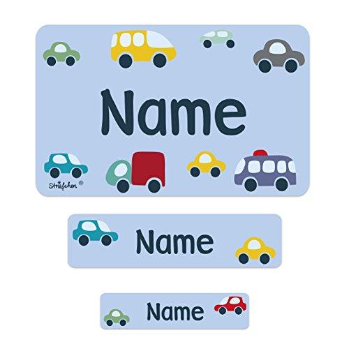 Striefchen® Schuletiketten mit Namen - Bunte Autos - ideal für das Beschriften von Heften und Büchern in der Schule 200 Stück (Der Name Buch)
